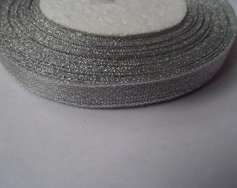 25 yards (22m) 10mm silver sparkle organza ribbon