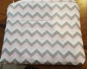 Pink & Grey Chevron zipper pouch