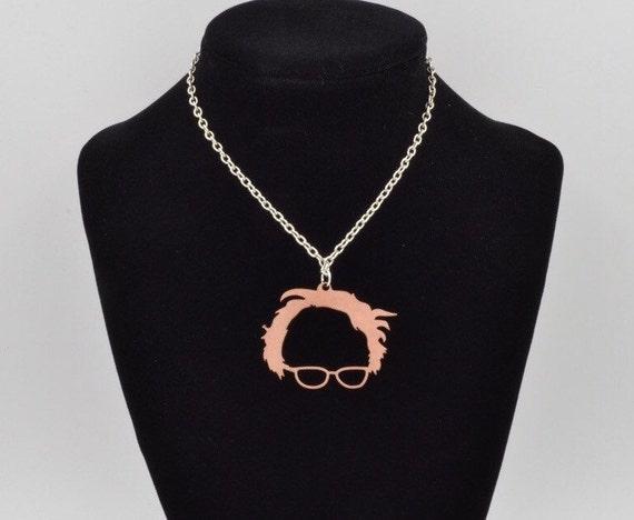 bernie sanders brass pendant silver necklace by