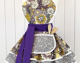 SALE Purple Flowers Apron