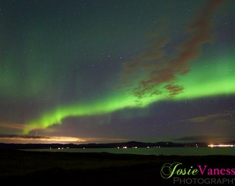 Northern Lights, Aurora Borealis Over Reykjavik Iceland Art Print Photography