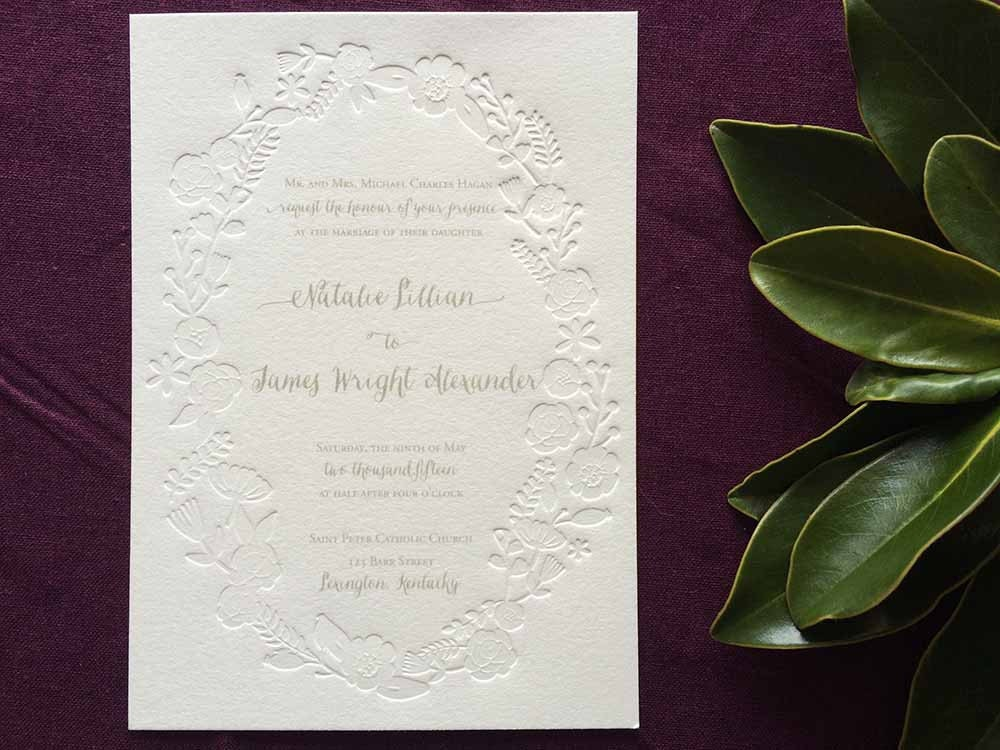 Picture Frame Wedding Invitations: Embossed Floral Frame Wedding Invitation With Gray Ink