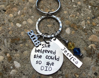 Sale! She believed she could so she did graduation keychain