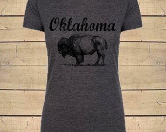 Oklahoma Shirt, Buffalo Shirt, Tribal Shirts, Native American Shirt, Country Shirts, Oklahoma, Womens Soft Blend (Fitted Style) T-Shirt