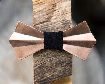 Copper Metal Bow Tie - Copper, Handmade, Adjustable, Unique Bowtie, Wooden Bow Tie, Wood Bow Tie, Groom, Groomsmen, Wedding, Prom