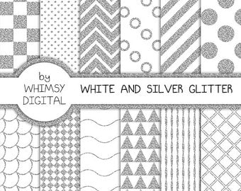 White and Silver Glitter Digital Paper with Checkers, Scallops, Chevron, Polka Dots, Waves, Stripes, Circles, and Triangles