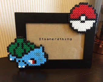 Bulbasaur and Pokeball Photo or Picture Frame - Pokemon. Hama / Perler Beads