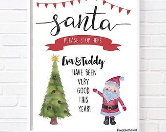 Personalised Santa Please Stop Here Christmas print
