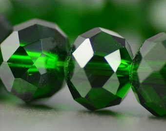 Chinese Crystal Rondelles in Dark Emerald Bottle Green 8x10mm