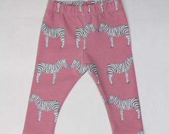 ZEBRA * Leggings for babies and kids pink glitter