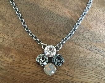 Swarovski Crystal Four 4 Stone Necklace