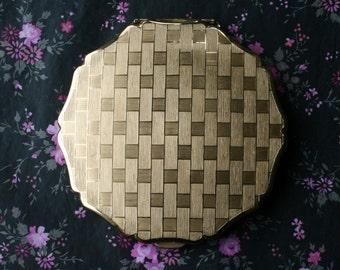 Boxed Stratton Gold Bricks Pattern Vintage Powder Compact 1960s