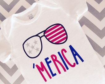 4th of July Bodysuit, MERICA, Freedom Toddler Shirt, Fourth of July Baby Shirt, Patriotic