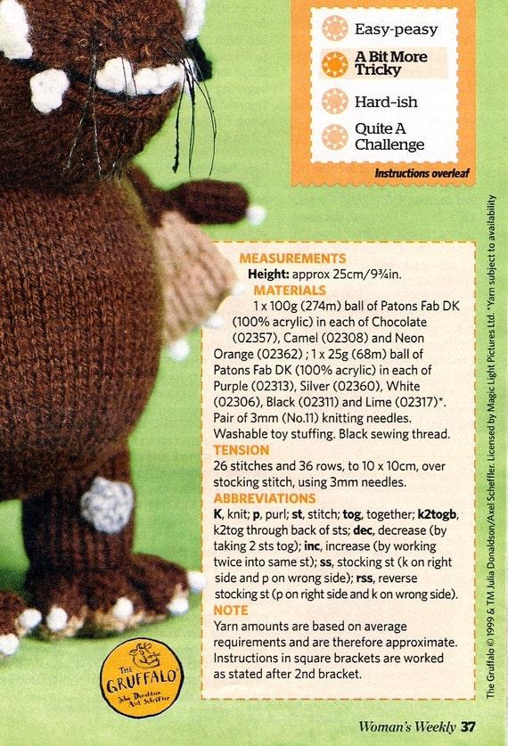 GRUFFALO TOY Knitting Pattern from Womans Weekly Magazine