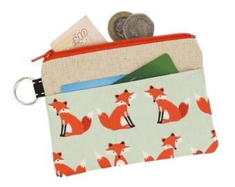 Fox zipper pouch,Coin purse,Card holder,Card wallet,Coin pouch,Zipper purse,Fox,Cute,Pocket,Gift idea