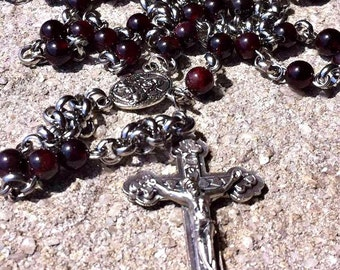 Garnet and steel chainmail rosary