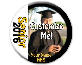 "3"" Senior 2016 Photo Pinback Button, Graduation Badge, Graduation Photo Button"