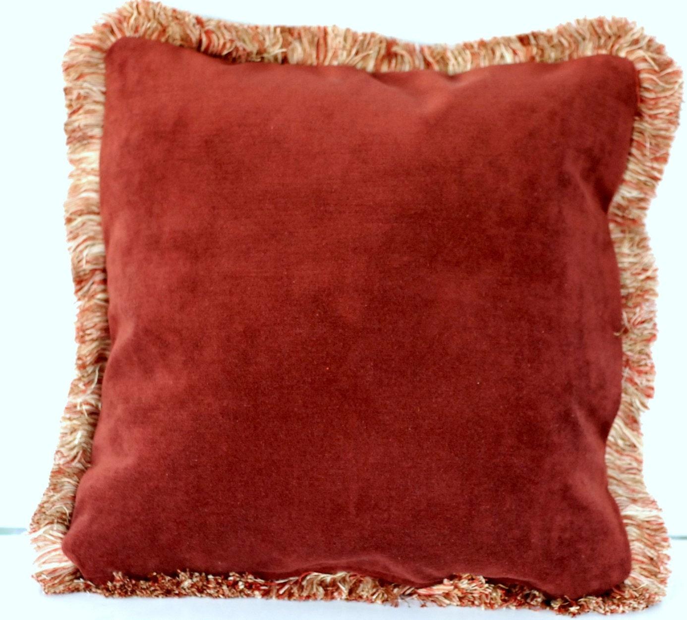 Large Velvet Decorative Throw Pillows With Fringe For Sofa