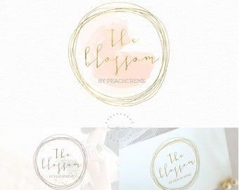 Watercolor Gold Circle Logo Design, Custom Logo Design, Custom logo, Business Logo, watercolor logo,  Photography Logo, Boho chic