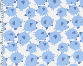 Get it Together Corduroy  Pigs on Blue  Free Spirit Fabric
