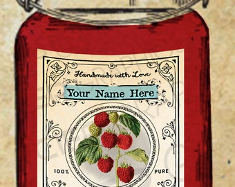 Raspberry Label Red Raspberry Jam Label Vintage Raspberry Canning Tags EDITABLE Digital Download Printable Tag Canning Labels Download