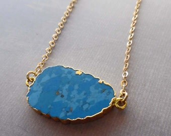 Turquoise Slab Necklace /Natural Gold-edged Turquoise / December Birthstone December Gift / Blue Gold Slab Turquoise Necklace//GR12