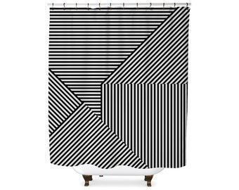 Black and white geometric stripe shower curtain