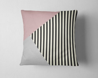 Pink rose grey and black geometric stripe throw pillow