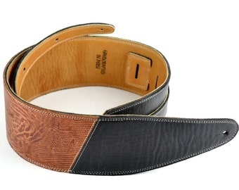 "Handmade Black & Brown Leather Guitar And Bass Strap, Two Tone, Tooled  Iguana Style Leather - 3 1/2"" Wide  A2-200-1C"