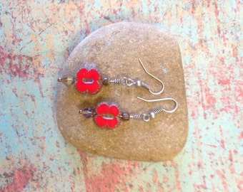 Red Czech glass earrings, Czech glass dangle earrings with crystal and wood beads