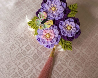 Purple Sakura and butterfly kanzashi hair clip with tassel