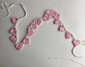 Crochet Heart Garland, Pink Heart Bunting, Cotton Garland, Wedding Decor