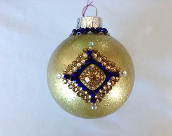 Bejeweled Gold Oval Christmas Ornament