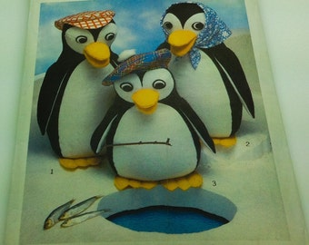 "Style Sewing Pattern 2012 Penguins Family With Hats Plush Stuffies Animal  17 "" 16 "" 13 "" Mama Papa Child Baby"
