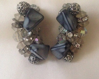 Gray bead, Rhinestone & Crystal earrings