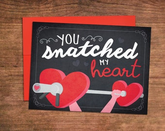 Snatched My Heart Weightlifting Valentines Day Card - Crossfit Love Greeting Card - Perfect for Husband, Wife, Boyfriend, Girlfriend