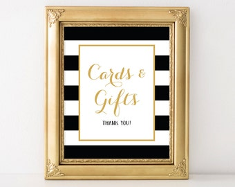 PRINTABLE Cards and Gifts Wedding Sign, 8x10 and 5x7 Wedding Gift Table Sign, Black & White Stripes Wedding Decor, INSTANT DOWNLOAD