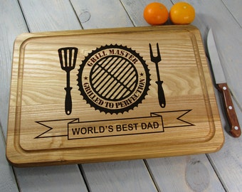 Fathers Day Grilling, Grill Master Cutting Board, Dad Gifts, World's Best Dad, Father's Day Gift, Dad Cutting Board, Father Birthday Gift