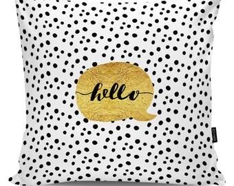 Decorative pillow Hello gold