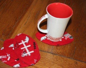 Arkansas Razorback Football coasters,  Tailgate parties, stocking stuffers, Razorback fan gift, Razorback table, Quilted coasters
