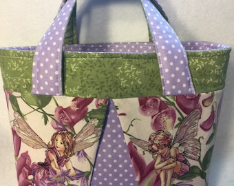 Small tote bag/ bag with fairies/ tote with fairies/ Bible bag/ Scripture bag/ Scripture tote/ LDS Quad