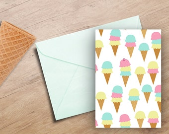 Ice Cream Cone Note Cards