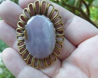 Vintage Purple Lace Agate/Jasper Flower/Daisy Pin/Broach