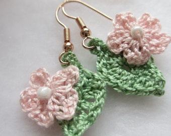 Hand crocheted Flower&Leaf Earrings