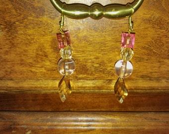 Crystal peach dangling earrings