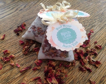 Bath tea, for her, bath salts, bath gift, Red Rose bath tea, Epsom salts, natural skincare