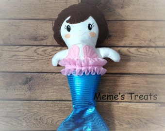 Fabric Doll Rag Doll Mermaid Doll Dark Brown Haired Girl With Shiny Blue Tail