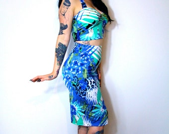 Hawaiian Jungle Print 1950's Style Pin Up Rockabilly Wiggle Pencil Dress Made to Measure