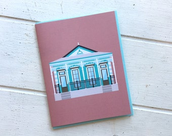 New Orleans Greeting Card, Pretty Italianate Shotgun Style House, Architecture Louisiana