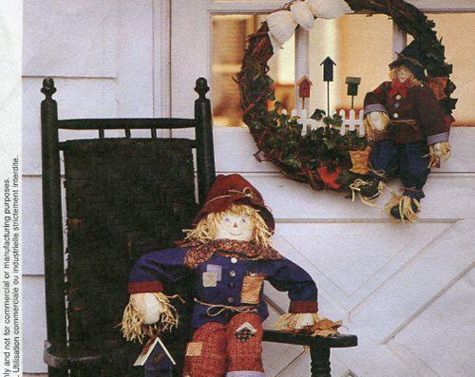Free Us Ship Sewing Pattern McCall's 8890 Holiday Fall Wreath Scarecrow Door Greeter 1997 Rocking Chair doll Uncut